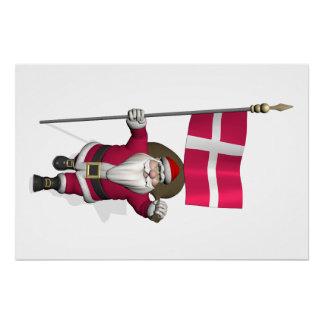 Papá Noel con la bandera de Dinamarca Dannebrog Perfect Poster