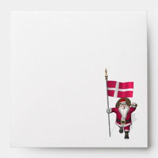 Papá Noel con la bandera de Dinamarca Dannebrog Sobres