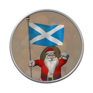 Papá Noel con la bandera de Escocia Latas De Caramelos
