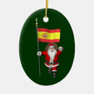 Papá Noel con la bandera de España Adorno Ovalado De Cerámica