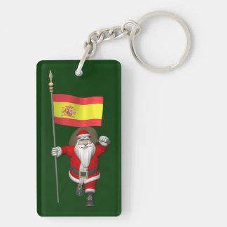 Papá Noel con la bandera de España Llavero Rectangular Acrílico A Doble Cara