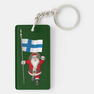 Papá Noel con la bandera de Finlandia Llavero Rectangular Acrílico A Doble Cara