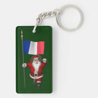 Papá Noel con la bandera de Francia Llavero Rectangular Acrílico A Doble Cara