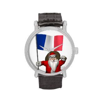 Papá Noel con la bandera de Francia Relojes De Mano