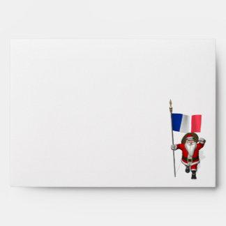 Papá Noel con la bandera de Francia Sobre