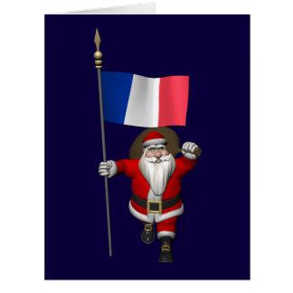 Papá Noel con la bandera de Francia Tarjeta De Felicitación Grande