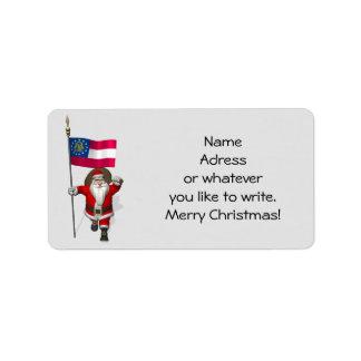 Papá Noel con la bandera de Georgia Etiqueta De Dirección