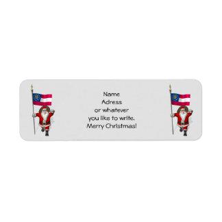 Papá Noel con la bandera de Georgia Etiquetas De Remite