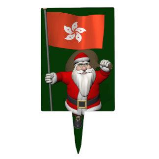 Papá Noel con la bandera de Hong Kong Decoraciones Para Tartas