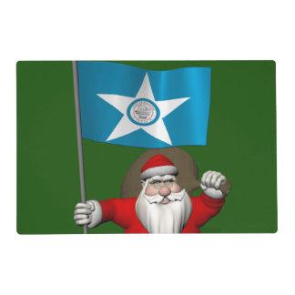 Papá Noel con la bandera de Houston TX Tapete Individual
