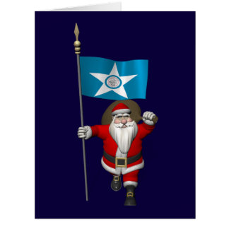 Papá Noel con la bandera de Houston TX Tarjeta