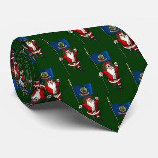 Papá Noel con la bandera de Idaho Corbata Personalizada