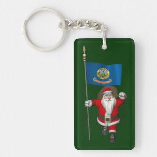 Papá Noel con la bandera de Idaho Llavero Rectangular Acrílico A Una Cara