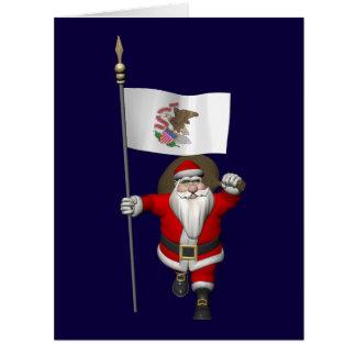 Papá Noel con la bandera de Illinois Felicitación