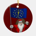 Papá Noel con la bandera de Indiana Adorno Navideño Redondo De Cerámica