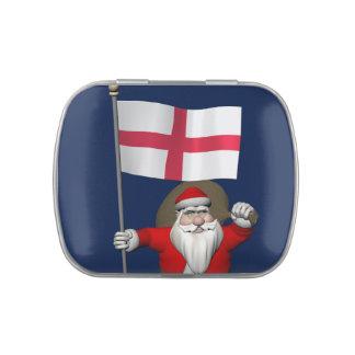 Papá Noel con la bandera de Inglaterra Frascos De Dulces