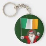 Papá Noel con la bandera de Irlanda Llavero Personalizado