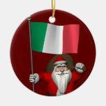 Papá Noel con la bandera de Italia Adorno Navideño Redondo De Cerámica