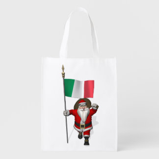 Papá Noel con la bandera de Italia Bolsas Para La Compra