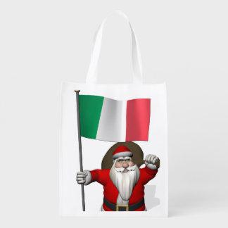 Papá Noel con la bandera de Italia Bolsas Reutilizables
