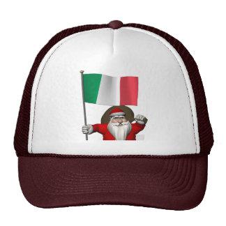 Papá Noel con la bandera de Italia Gorro De Camionero