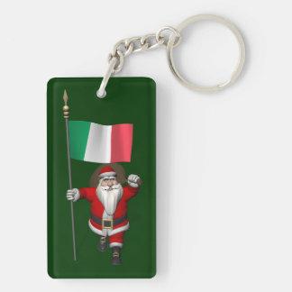 Papá Noel con la bandera de Italia Llavero Rectangular Acrílico A Doble Cara
