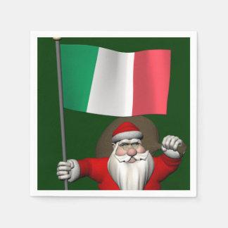 Papá Noel con la bandera de Italia Servilleta De Papel