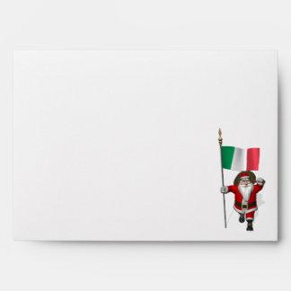 Papá Noel con la bandera de Italia Sobre