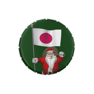Papá Noel con la bandera de Japón Frascos De Dulces