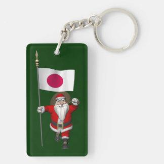 Papá Noel con la bandera de Japón Llavero Rectangular Acrílico A Doble Cara
