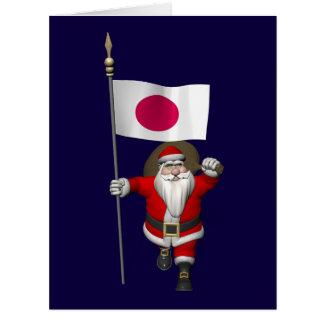 Papá Noel con la bandera de Japón Tarjetas