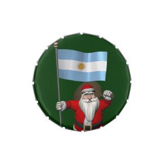 Papá Noel con la bandera de la Argentina Latas De Dulces