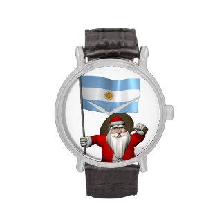 Papá Noel con la bandera de la Argentina Reloj De Mano
