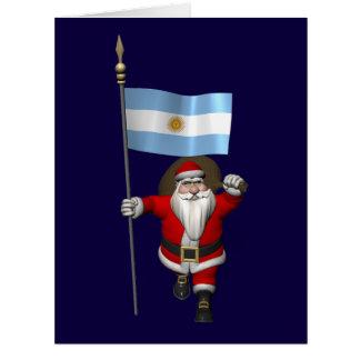 Papá Noel con la bandera de la Argentina Tarjeta