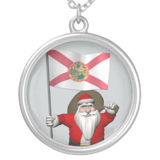 Papá Noel con la bandera de la Florida Collar Plateado