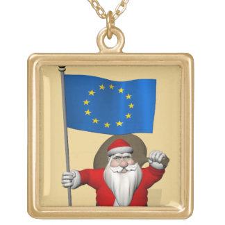 Papá Noel con la bandera de la unión europea Collares