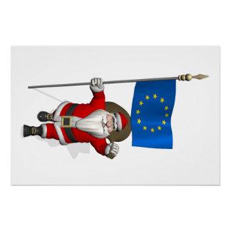 Papá Noel con la bandera de la unión europea Perfect Poster