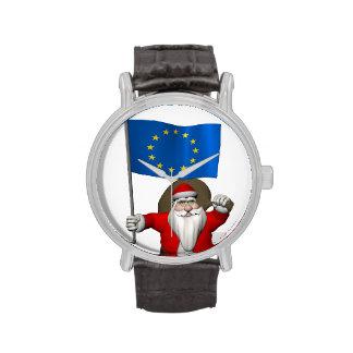 Papá Noel con la bandera de la unión europea Reloj De Mano