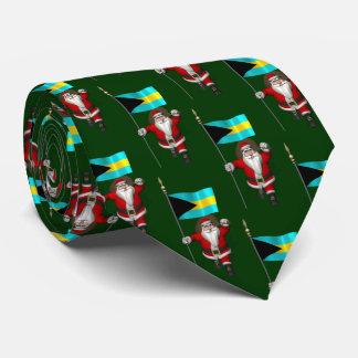 Papá Noel con la bandera de las Bahamas Corbata