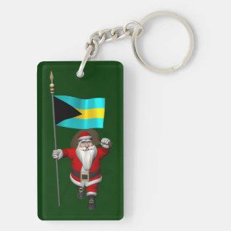 Papá Noel con la bandera de las Bahamas Llavero Rectangular Acrílico A Doble Cara