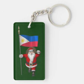Papá Noel con la bandera de las Filipinas Llavero Rectangular Acrílico A Doble Cara