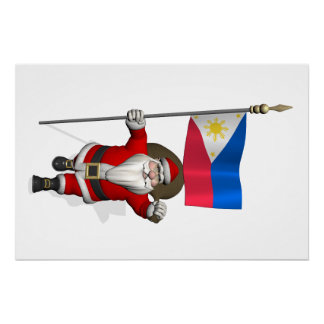 Papá Noel con la bandera de las Filipinas Perfect Poster