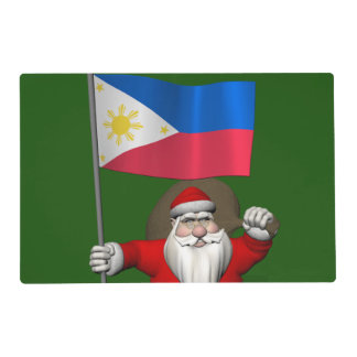 Papá Noel con la bandera de las Filipinas Tapete Individual