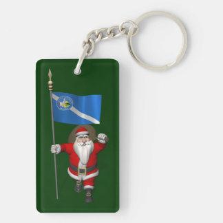 Papá Noel con la bandera de Las Vegas Llavero Rectangular Acrílico A Doble Cara