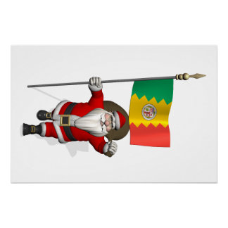 Papá Noel con la bandera de Los Ángeles CA Perfect Poster