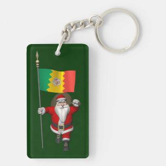 Papá Noel con la bandera de Los Ángeles Llavero Rectangular Acrílico A Doble Cara
