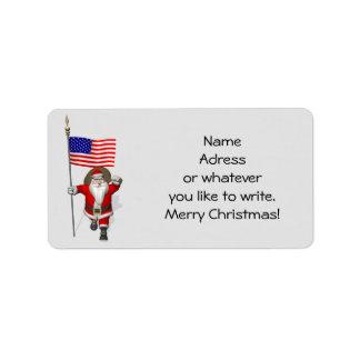Papá Noel con la bandera de los E.E.U.U. Etiqueta De Dirección
