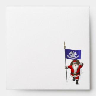 Papá Noel con la bandera de Luisiana Sobre