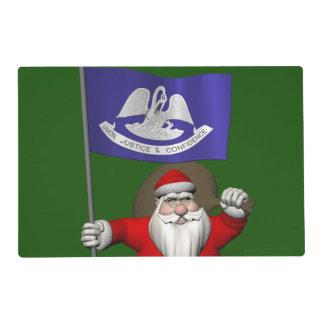 Papá Noel con la bandera de Luisiana Tapete Individual