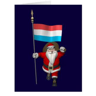 Papá Noel con la bandera de Luxemburgo Tarjetas